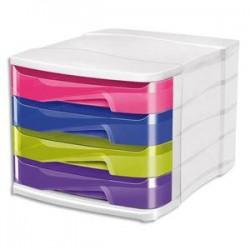 CEP Module de classement Happy en polystyrène. 4 tiroirs assortis. Dim. : L29,2 x H24,6 x P38 cm