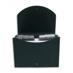 EXACOMPTA Trieur valisette noir en PP EXACASE 13 compartiments.Dos extensible,onglets personnalisables