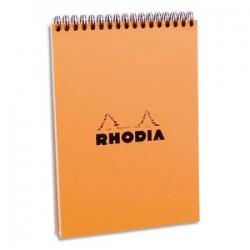RHODIA Bloc de direction couverture reliure intégrale en-tête orange 80 feuilles format A5 réglure 5x5