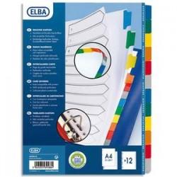 ELBA Intercalaire en carte blanche 170g, 12 touches renforcées mylar, format A4