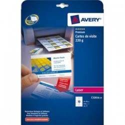 AVERY Pochette de 100 cartes de visite (85x54mm) 220g coins droits laser finition mate