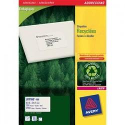 AVERY Boîte de 2100 étiquettes adresse laser recyclées blanc 63,5X38,1 LR7160-100