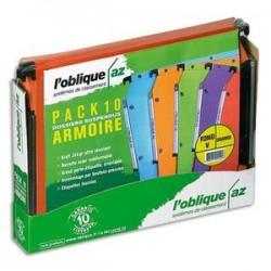 OBLIQUE AZ Paquet de 5+5 dossiers suspendus ARMOIRE en kraft 240g. Fond 15 et 30, bouton-pression. Orange