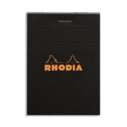 RHODIA Bloc de direction couverture noire 80 feuilles (160 pages) format A7 réglure 5x5