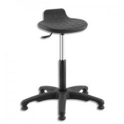 Siège Assis Debout noir en polyuréthane assise pivotante et inclinable, piètement nylon sans repose-pieds