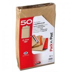 GPV paquet de 50 pochettes kraft brun auto-adhésif, format C4 229x324mm soufflet 30mm120g