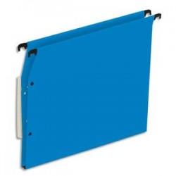 NEUTRE Boîte de 25 dossiers suspendus ARMOIRE en kraft 220g. Fond 15mm, volet agrafage + pression. Bleu