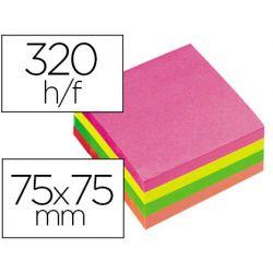Bloc-notes q-connect cube quick notes 75x75mm 320f repositionnables sans traces coloris néon