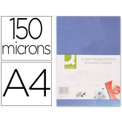 Plat couverture q-connect pvc incolore 150 microns a4 relieurs spirales peignes anneaux paquet 100 unités