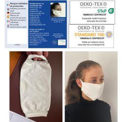 Masque de protection textile. Lavable 60°. Réutilisable 20 fois. Conforme ANSM catégorie 2