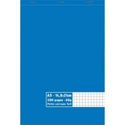 Bloc 60g agrafé en tête 200 pages petits carreaux 5x5. Format A5 14,8 x 21 cm