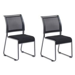 Lot de 2 Chaises Dacada assise en tissu et dossier résille Noir, piètement luge en acier - H84 cm, L42 cm