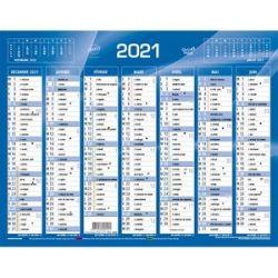 QUO VADIS Calendrier 7 mois par face avec vacances scolaires en haut, format 21 x 27 cm Bleu