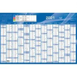 QUO VADIS Calendrier 12 mois par face avec vacances scolaires en haut, format 67,5 x 43 cm Bleu