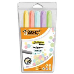 BIC Pochette de 5 surligneurs Highlighter Grip assortis pastel: Jaune, Rose, Orange, Vert et Bleu
