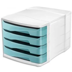 CEP Module de classement Ellypse XtraStrong 4 tiroirs - Dimensions : L38,6 x H24,6 x P29,2 cm Vert d'eau