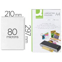 Pochette plastification q-connect à chaud économique format a4 80 microns mat boîte 100 unités
