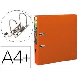 Classeur levier exacompta prem'touch polypropylène a4+ 32x30cm dos 8cm bouton poussoir coloris orange.