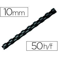 Anneau plastique à relier q-connect capacité 50f 10mm diamètre coloris noir boîte 100 unités