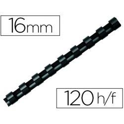 Anneau plastique à relier q-connect capacité 120f 16mm diamètre coloris noir boîte 50 unités