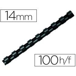 Anneau plastique à relier q-connect capacité 100f 14mm diamètre coloris noir boîte 100 unités