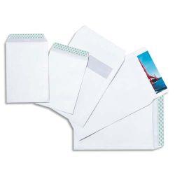 Boîte de 250 pochettes velin Blanc 90g C4 229x324 mm fenêtre 50x100 mm auto-adhésives