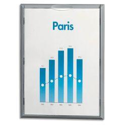 PAPERFLOW Cadre mural d'informations contour en polystyrène Gris format A4